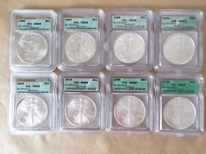 1986-1988, 1994, 2002-2005 ICG MS-69 8-Coin Set of American Silver Eagles