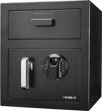 Barska Biometric Keypad Depository Safe, Black, Medium, Ax13108 Biometric Safe