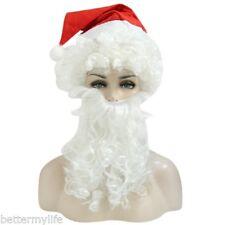 Halloween Père Noël bouclé PERRUQUE BARBE CHAPEAU Kit déguisement accessoire