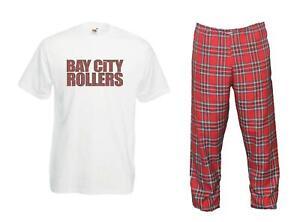 Mens 1970s Bay City Rollers T-shirt & Tartan Fancy Dress Rock Pop Trousers