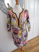 BODEN DRESS SIZE 12 ABSTRACT FLORAL LEAF & SWIRLS PATTERN MULTI-CLOURED VGC