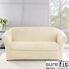 sure fit Stretch Plush Two Piece LOVESEAT size Slipcover cream nerw