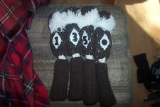 BRAND NEW Vintage Deluxe Knit Pom Pom headcovers set/4 Brown