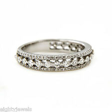 1.54 Ct14k  Diamond Eternity Band Ring in White Gold Over 925 Sterling Silver
