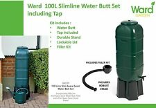 More details for strata slimline water butt in green plastic with stand and filler kit 100 litre