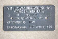 1964 Original VW Volkswagen VIN Name Plate Type 1 Beetle