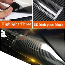 5D Black Carbon Fiber Vinyl Car Wrap Sheet Roll Film Sticker Decal Paper 76*30cm