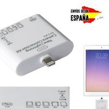 Lector para IPAD USB LIGHTNING TARJETAS MICRO SD camera kit connection 5 en 1