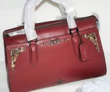 NWT COACH Selena Gomez Wine Leather Crystal Bond Satchel Shoulder Crossbody Bag