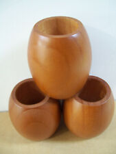 Lot of 3 Hand Made Carved Wood Tooth Pick Candle Holder Egg Shape Collectible