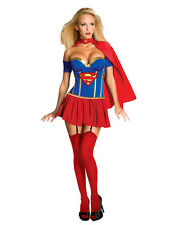 Superwoman Adult Costume Super Girl Shirt Dress w/Cape Halloween Cosplay