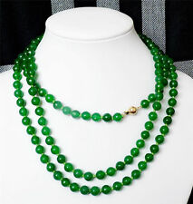 AAA Charming 8mm Natural Green Jade Round Gem Bead Necklace 54'' 14K Gold Clasp