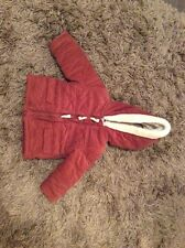 baby boys corduroy. jacket coat age 6/9 months fur trim hood  thick padded  rust
