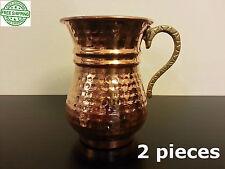 Solid Set of 2 Turkish Copper Mug, Pure Copper Mug Set, Moscow Mule Mugs