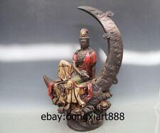 """24"""" Chinese WuCai Porcelain & Pottery crescent moon Kwan-yin Bodhisattva Statue"""