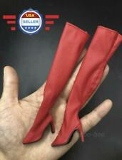 """1/6 scale Red OVER THE KNEE Boots HOLLOW for 12"""" Female Figure PHICEN VERYCOOL"""