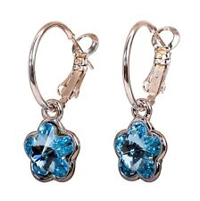 Swarovski Elements Crystal Plum Blossom Pierced Earrings Rhodium Authentic 7298c