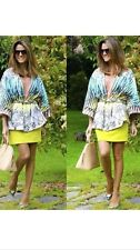 New Zara Kimono Jacket Printed Yellow Blue Green Small 2453/134