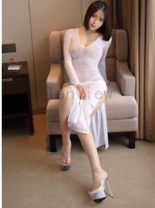 Lady Milk Ice Silk Smooth Elastic Nightclub Sheer High Cut Shiny Long Dress