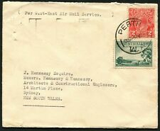 Feb.1934 usage of 3d Air + 2d KGV on commercial airmail cover, Perth to Sydney