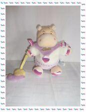 L - Doudou Marionnette Hippopotame Blanc Mauve Doudou et Compagnie