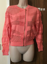 MISS SIXTY CORAL CROPPED ZIP FRONT CARDIGAN SIZE L