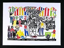 Brazil Folk Art by Givanildo Feira no Interior Country Fair Large Woodcut  Print
