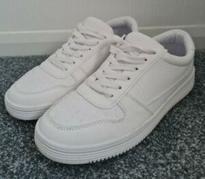 Primark White Lace Up Trainers Size 6