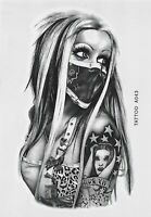 Frau Maske Tattoo Temporary Tattoo Skull Temporäre Tattoo Body Sticker 21x15