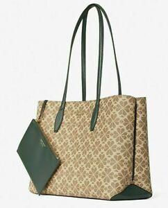 💚 Kate Spade Flower All Day Large Tote Bag Purse Handbag & Wristlet Pouch Set