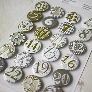 Gold and Silver Advent Badges 1- 24 Xmas DIY Advent Calendar Craft