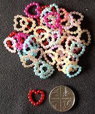 Multi Coloured Resin Pearl Bead Heart Embellishments 100pcs