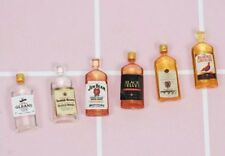 Dollhouse 6 Miniature Whiskey Liquor Bottles Lot 1:12 Scale 1.8cm US Seller