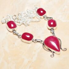 "Handmade Cherry Ruby Natural Gemstone 925 Sterling Silver Necklace 18"" #N01518"