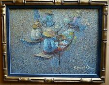 MID CENTURY MODERN IMPRESSIONIST ASIAN CHINA CHINESE ABSTRACTION ABSTRACT BOATS