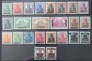 Germany 1920-1921 Saar issues O/P 'Saargebiet' on Germania MH & Used