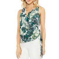 Vince Camuto Womens Jungle Palm Crepe Floral Print Wrap Top Blouse BHFO 8272