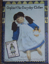 "Vintage looking rag DOLL Pattern ""Sophie"" & clothes OOP w/tiny doll friend dress"