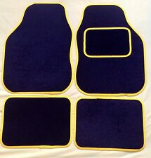 BLACK WITH YELLOW TRIM CAR FLOOR MATS FOR PEAUGEOT 106 107 206 207 307 308 407