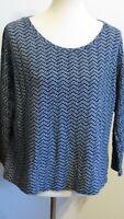 Liz Claiborne Sport Women's XL Navy Blue Chevron striped long sleeve shirt top
