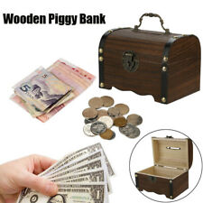Vintage Wooden Piggy Bank Safe Money Box Savings With Lock Wood Carving Handmade
