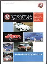 Vauxhall Sports Car Club Mid 2000s UK Market Foldout Brochure & Application Form