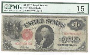 $1 1917 LEGAL TENDER PMG FINE 15
