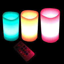 3x Colour Changing Led Candle Lights Set With Remote & Timer Battery Wax Candles