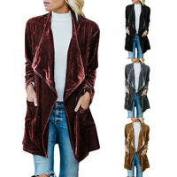 Women Long Drape Velvet Jacket Open Front Cardigan Coat with Pocket Outerwear US