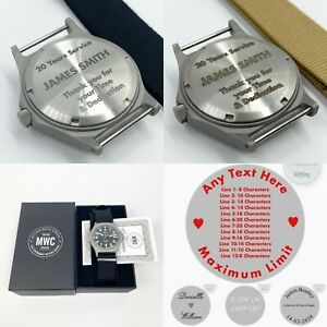Personalised Engraved MWC Military Watch 100M Quartz Wristwatch Gift Any Text