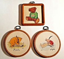 Disney Pooh & Piglet completed Wood Framed Needlepoint Pictures & Other Bear