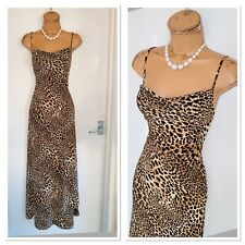 JOSEPH RIBKOFF Brown Mix Animal Print Jersey Maxi Dress Uk Size 12