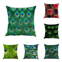 """18"""" Vintage Peacock Feather Flax Sofa Bed Home Decor Pillow Case Cushion Cover"""