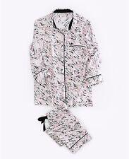 Women lady Victoria's Secret Nighties Pajama Shirt + Pants Eye mask Set size M